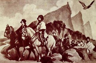A picture depicting Italian revolutionary Giuseppe Garibaldi and his wife, Anita, traveling to take refuge in San Marino in 1849.