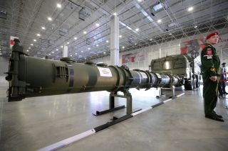 This photo shows a close view of the Russian 9M729 missile