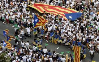 Pro-independence demonstrators in Barcelonia