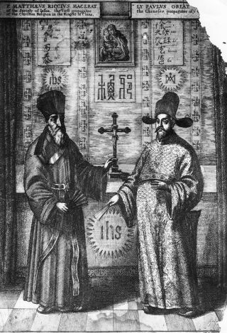 This illustration from 1667 depicts a Chinese manuscript of the Jesuit missionary to China, Matteo Ricci, and his first convert.