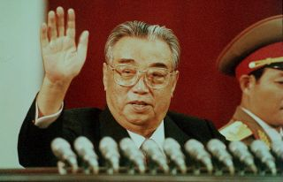 North Korea's founding leader, Kim Il Sung, celebrates his 80th birthday in this photograph from April 15, 1992.