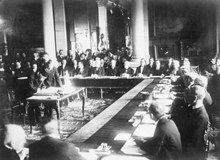 In this photo, Haki Pacha signs the Treaty of Sevres on behalf of the Ottoman Empireon Aug. 23, 1920.