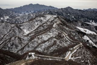 The Great Wall after a snowfall in an area outside Beijing.
