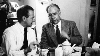 Werner Heisenberg and Niels Bohr speaking in 1934.