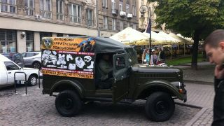A truck soliciting donations to support the Ukrainian military's efforts in eastern Ukraine.