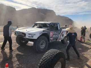 3 Bears Racing crew manages a pit stop during the first of four races in 2019's SCORE World Desert Championship