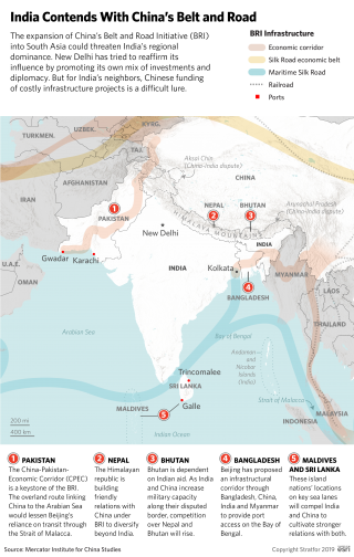 A map showing the expansion of China's Belt and Road Initiative into South Asia.