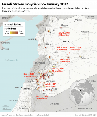 Israeli strikes in Syria since January 2017.