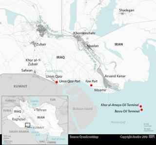 A map of Iraq and Iran around the Shatt al-Arab River.