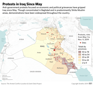 A map of Iraq showing locations of anti-government protests since May.