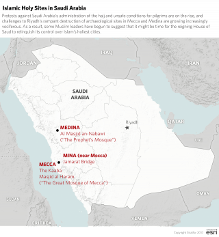 Islamic Holy Sites in Saudi Arabia. Protests against Saudi Arabia's administration of the hajj and unsafe conditions for pilgrims are on the rise, and challenges to Riyadh's rampant destruction of archaeological sites in Mecca and Medina are growing increasingly vociferous.
