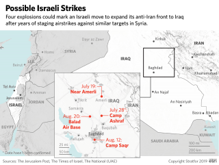 This map shows the locations of possible Israeli strikes against PMU facilities in Iraq
