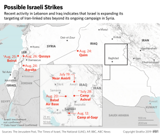 Map of possible Israeli strikes in Iraq, Lebanon and Syria