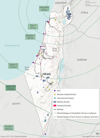 A map showing ranges of Iran and Hezbollah's indirect weaponry and key Israeli infrastructure targets.