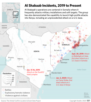 This map shows the location of al Shabaab attacks over the past year.