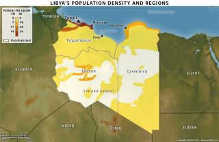 Libya's population is the smallest of the North African states at approximately 6.5 million people, spread primarily along the coast or in smaller pockets within the Libyan desert.