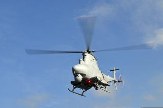 An MQ-8B Fire Scout unmanned aerial vehicle takes off during flight operations aboard guided missile frigate USS Simpson on March 6, 2012, in the Gulf of Guinea.