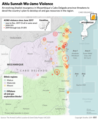 A map of Mozambique showing the country's ethnic regions and locations of militant attacks.