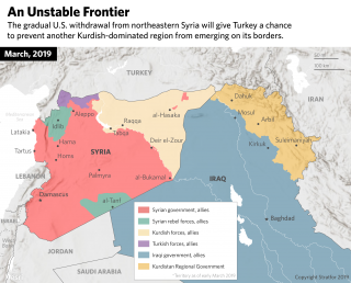 This map shows the areas controlled by different factions in Syria.