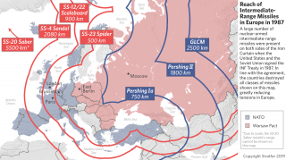 This map shows the ranges of missiles before the implementation of the INF Treaty in 1987.
