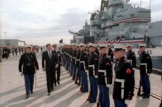 President Reagan reviews troops in front of the USS New Jersey. Underlying his policies was the recognition that American exceptionalism derived not only from its being powerful, but from its responsibility to spread the American system to other countries.