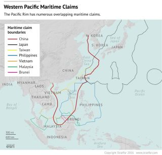 The Pacific Rim has numerous overlapping maritime claims.