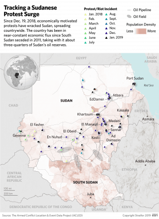 A map tracks the surge in protests across Sudan.