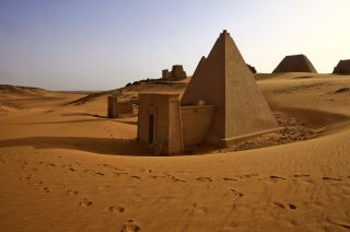 The Meroitic pyramids at the archaeological site of Bajarawiya, located roughly 250 kilometers (155 miles) northeast of Khartoum.
