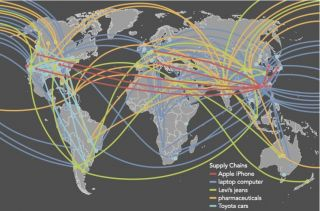 "The map above is from Connectography, titled ""Supply Chains Are Becoming More Diverse and Complex."""