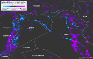 Satellite imagery representing electricity use in Syria and Iraq from 2012 to 2016.