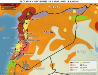 Syrian and Lebanese ethnic and religious groups mapped out