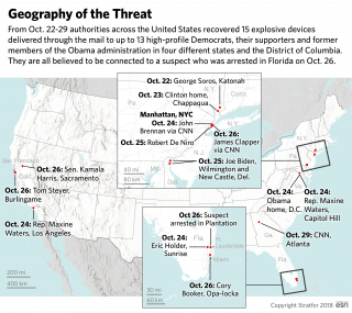 A map shows where the pipe bombs were sent in the United States.