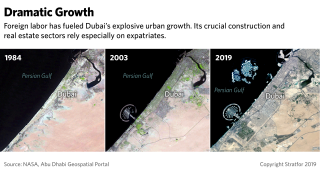 A photo comparison shows the growth of Dubai since 1984