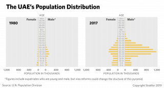 A chart showing the breakdown by age of the Emirati population in 1980 and in 2017