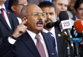 Yemen's former President Ali Abdullah Saleh speaks in Sanaa.