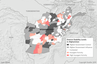 This map shows the approximate levels of stability in Afghanistan as various factions in the country continue vying for power.