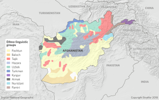 A map shows the ethnic and linguistic groups of Afghanistan.