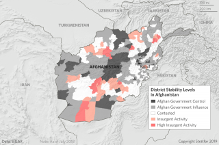 A map showing levels of control between the government and the Taliban in Afghanistan.