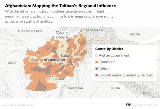 A map depicting the extent of Taliban control in Afghanistan