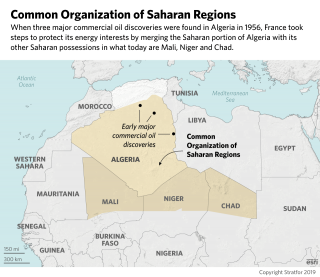 A map of France's Common Organization of Saharan Regions