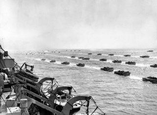 A photo of Allied landing craft underway to the beaches of Normandy, June 1944.