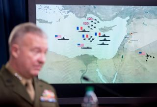 U.S. Marine Lt. Gen. Kenneth F. McKenzie Jr., director of the Joint Chiefs of Staff, discusses allied military strikes against Syria at the Pentagon in Washington, D.C., on April 14, 2018.