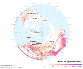 This map shows population densities around the Arctic.