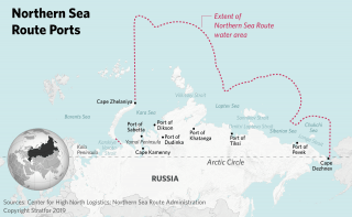 A map showing Russian Northern Sea Route ports.
