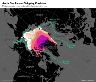 A map showing minimum Arctic sea ice extent and modeled future extent by year.