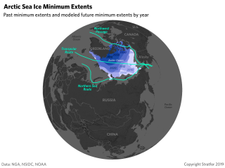 A map of Arctic sea routes, showing past minimum extents of Arctic sea ice and modeled future minimum extents by year.