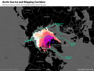 A map showing various passages through the Arctic Ocean, as well as forecasts for the decline in sea ice.