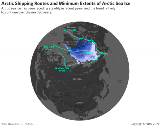 This map shows the degree to which Arctic sea ice is receding.
