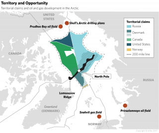 The Arctic contains an estimated 30 percent of the world's undiscovered natural gas and 13 percent of its undiscovered oil reserves, regarded by Moscow as important sources of foreign investment that are critical to the country's economic development.