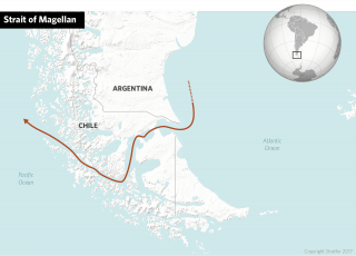 A graphic showing the Strait of Magellan, through the southern tip of South America